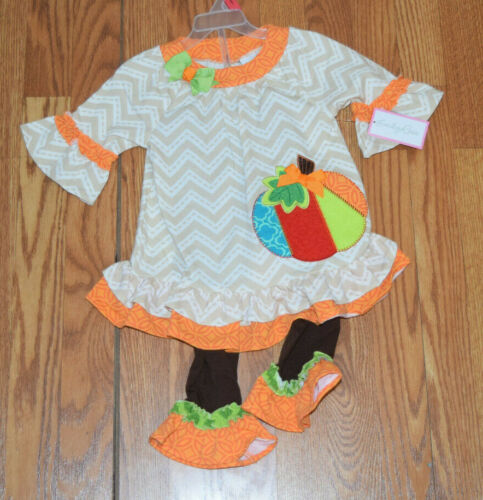 EMILY ROSE NWT White Orange Tan Thanksgiving Pumpkin Dress Shirt Set Sz 2T