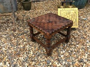 Oak-And-Leather-Arts-And-Crafts-School-Stool-Footstool