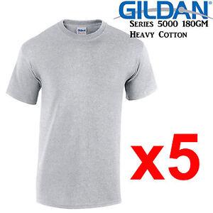 Gildan-T-SHIRT-Sport-Grey-blank-plain-tee-S-M-L-XL-2XL-XXL-Men-039-s-Heavy-Cotton