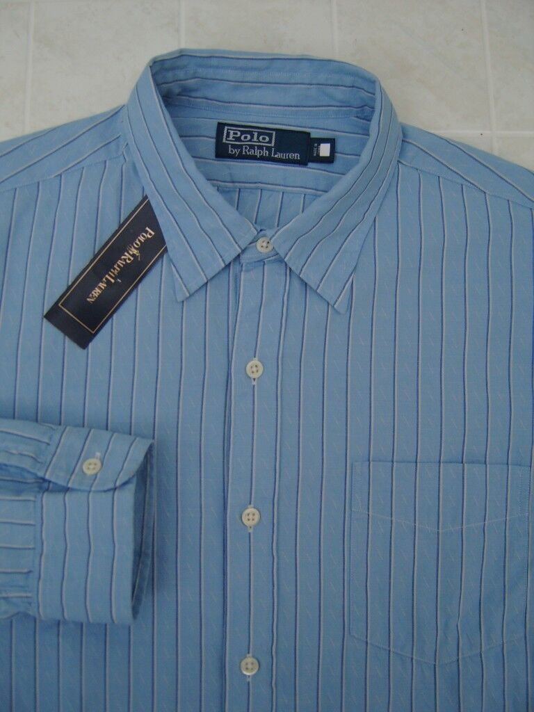 Polo Ralph Lauren Mens Bohemian Classic Fit L Dress Shirt Button bluee Stripe
