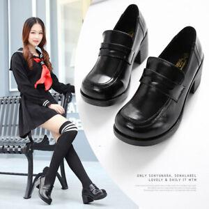 Women Block Heels Shoe Japanese School