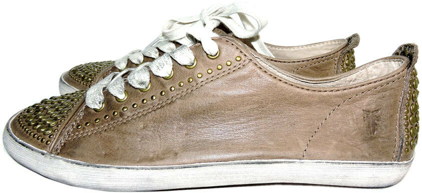 8 FRYE Kira Studded Skate Slippers Sneakers Distressed Flat Schuhe 7.5 Taupe