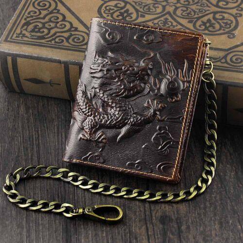 Vintage Dragon Mens Wallet Slim Card Money Purse Wi// Safe Chain