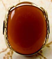 Bold Carnelian Artisan Ring 14k Rolled Gold Mens Or Ladies