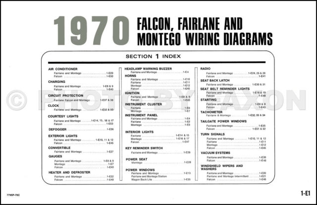 1970 Ford Wiring Diagram Falcon Fairlane Torino Ranchero