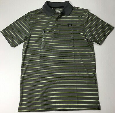 Under Armour MEN'S Athletic Golf Polo 1279035 Grey Yellow Stripes 040 Size  S | eBay