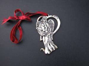 Christmas-Ornament-Gorham-Signed-Hope-Angel-Silver-Plate-Satin-Ribbon