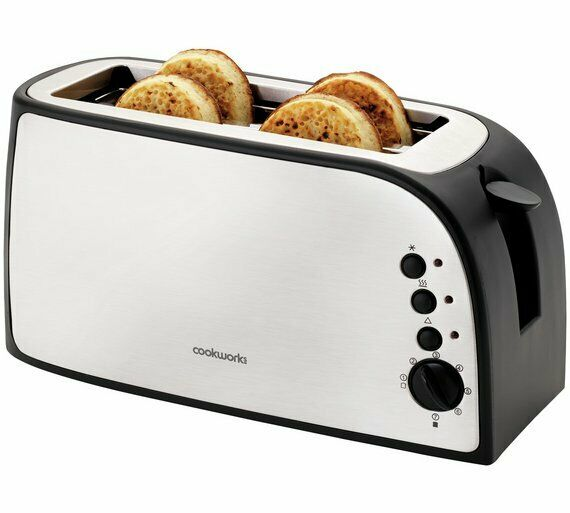 Cookworks 2 Slice Toaster  - Stainless Steel  4 Slices of Bread or 4 Buns NEW_UK