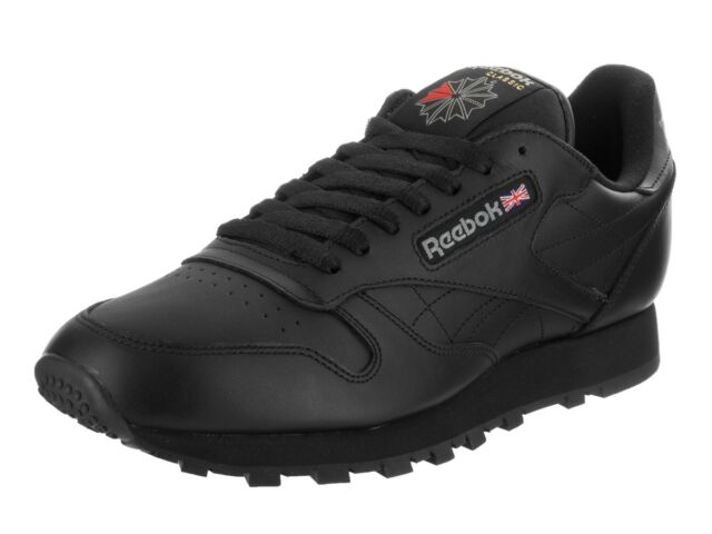 962c6586 Reebok Classic Leather CL Black Red Fashion Mens Shoes Sneakers 116 All  Sizes