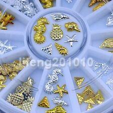 Beauty 3D Metal Nail Art Decoration Supplies Gold Silver Shell Conch Studs Wheel