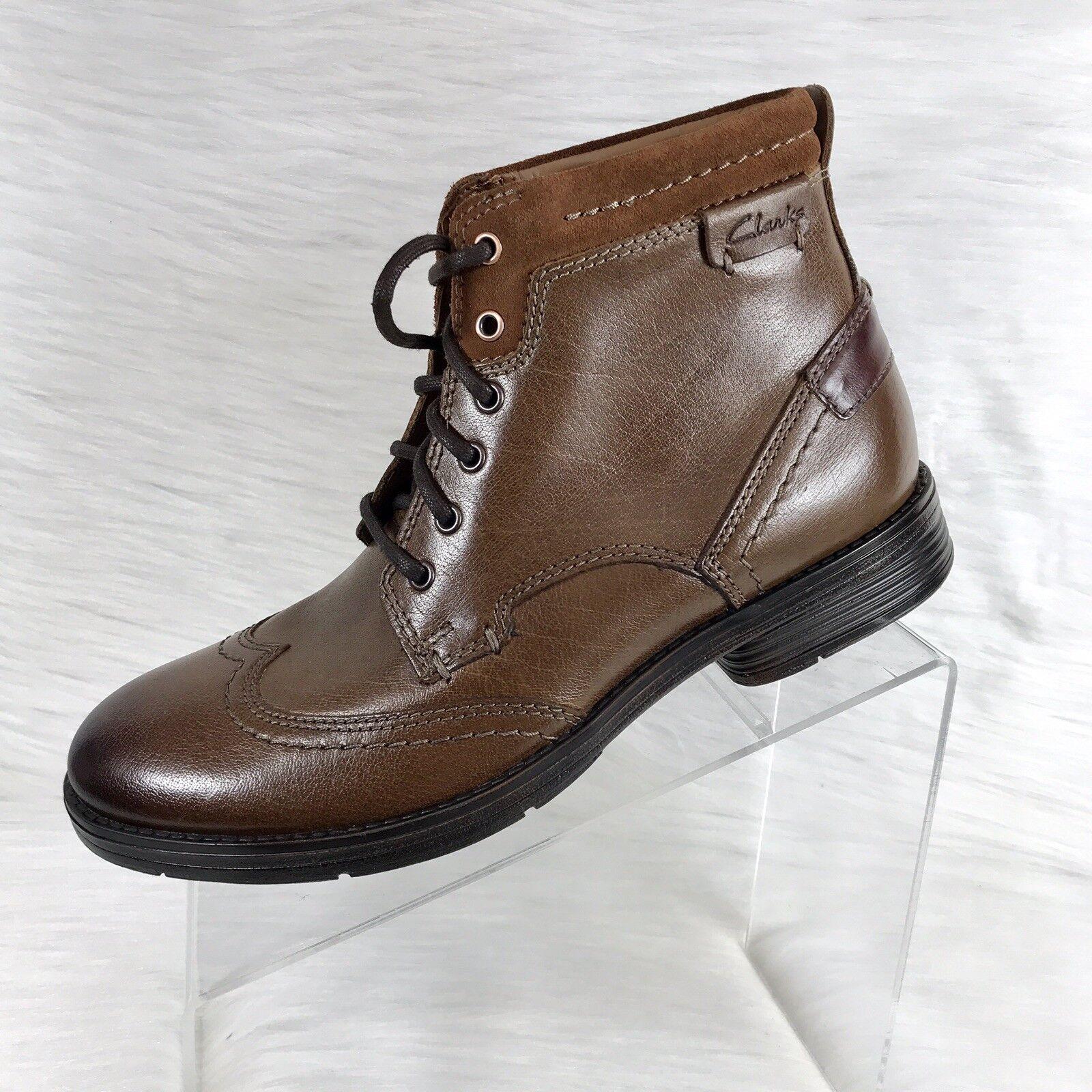 Clarks Collection botas al tobillo para hombre punta del ala Marrón Cuero M Nuevo