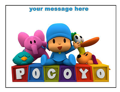 "Pocoyo Personalised Birthday Cake Topper 8/"" Circle plaquette papier//Icing Sheet"
