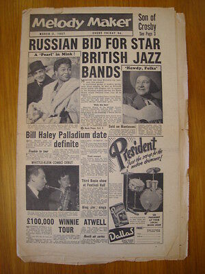 Gematigd Melody Maker 1957 Mar 2 Bill Haley Frankie Vaughan Jazz