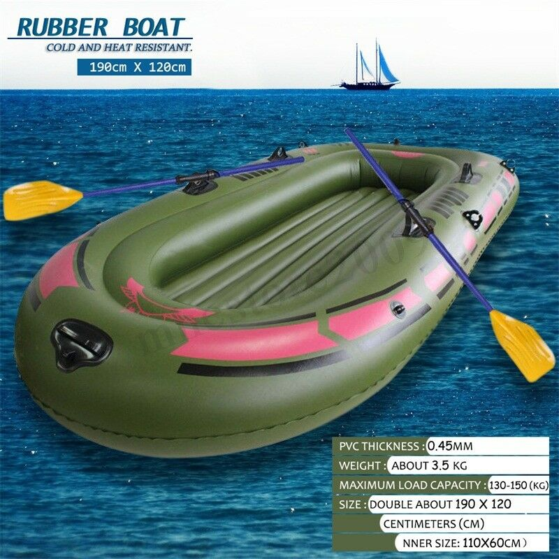 74.8''x47.2'' Green 2 Person Kayak Inflatable PVC Boat w  Oars Air Pump Rope