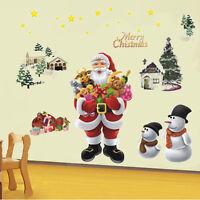 Merry Christmas - Santa Xmas Tree - Wall Quote Shop Window Sticker - Art Decor