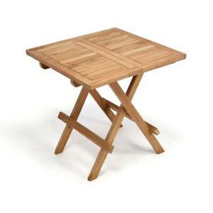 Détails sur Divero Table d\'appoint Table de balcon jardin terrasse bois  TECK 50x50cm traités- afficher le titre d\'origine