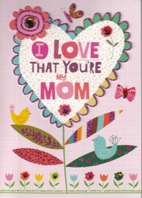 PAPYRUS MOTHERS DAY CARD NIP (MSRP $5.95) HEART FLOWER CARD (C)