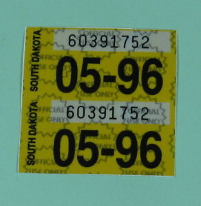 Image Is Loading May 1996 South Dakota Vehicle Parking Registration License