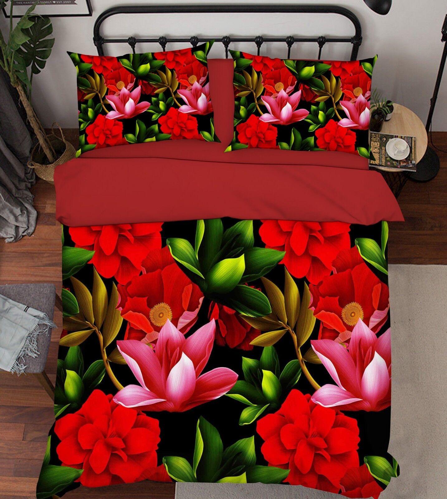 3D Flowers Painted 68 Bed Pillowcases Quilt Duvet Cover Set Single King UK Lemon