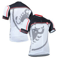 Fashion Mens Bike Race Tops Uniforms Cycling Jersey Polyester Outfits Wear White