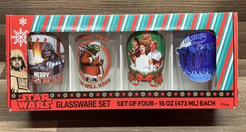 Choir Yoda AT-AT Holiday Set of 4 16 Oz Star Wars Glassware Set Darth Vader