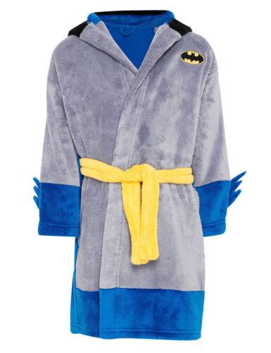 M/&S soft fleece boys dressing gown batman knight NEW age 1 2 3  bathrobe baby