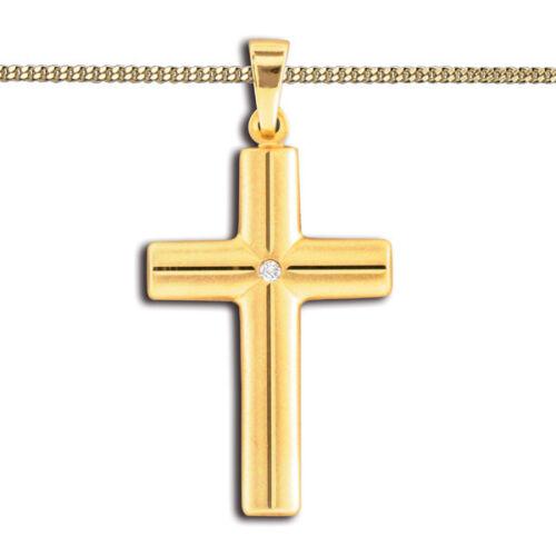 Gold 585 Diamant 0,01 Brillant Kreuz Anhänger Taufe Kommunion mit Silber Kette