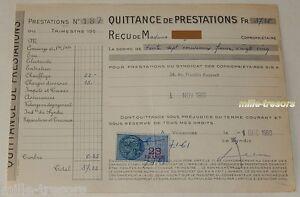 QUITTANCE-de-PRESTATIONS-du-1er-decembre-1960-TIMBRE-Fiscal-de-23-francs