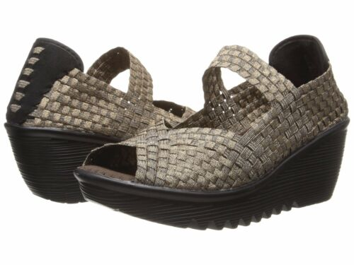 Women/'s Shoes Bernie Mev Halle Woven Open Toe Casual Wedges Bronze *New*