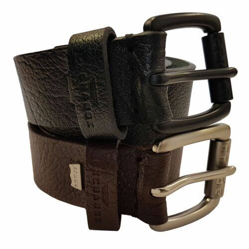 CRUDE EXCHANGE Mens Black Brown Jeans Real Genuine Leather Belts 26-64 inches