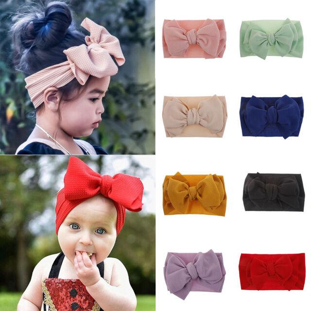 Soft Baby Girls Cute Kids Toddler Bow Hairband Headband Turban Big Knot HeadWrap