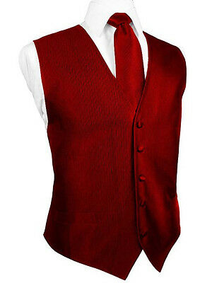 Red Silk Faille Tuxedo Vest with Matching Long Tie and Bow Tie