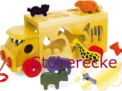Kinder Zoowagen mit Tieren Holz Steckwürfel Holzspielzeug Motorikspielzeug NEU
