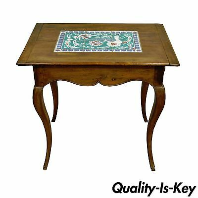 Antique Primitive French Country Cherry Bird Tile Top One Drawer Side End Table Ebay