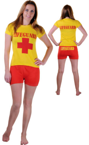 Ladies Mens LIFEGUARD BAY Style Life Saver Float Fancy Dress Outfit Shirt+Shorts