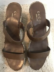 79357758d6eee Details about Gucci Wedge Womens Sandals Monogram Brown Straps 36.5 / 6B