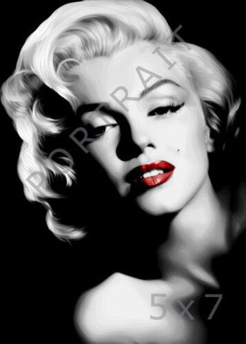 Various Sizes Marilyn Monroe Red Lips Digital Movie Greats Print Gift Idea
