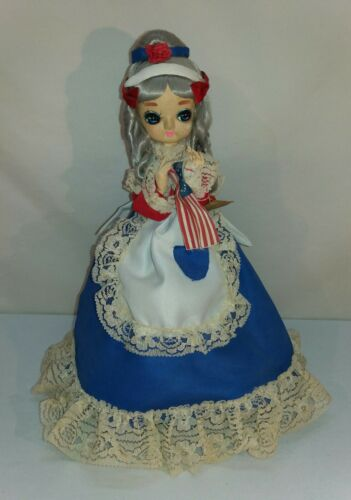 "Vintage Tagged Artmark Big Eye Betsy Ross 14"" Doll on Stand American Flag Maker"