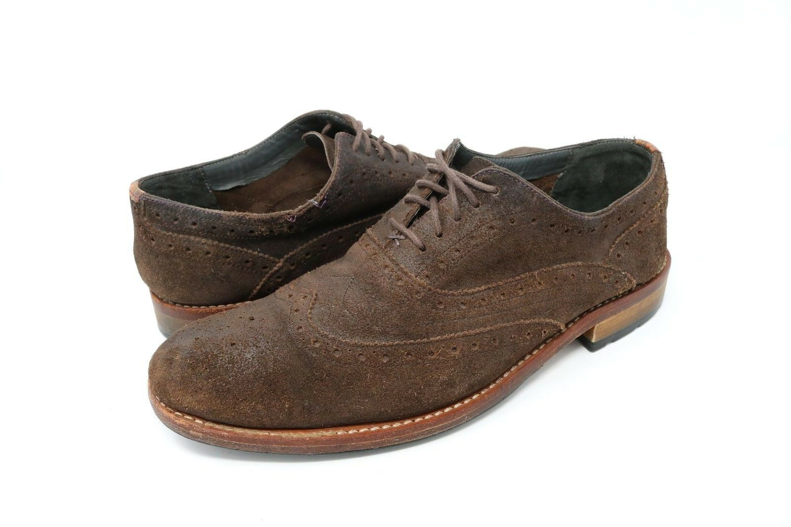 Ted Baker London Mens Brown Nubuck Suede Wingtip Oxford shoes Size 10