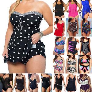 Damen Tankini Set Bikini Bademode Badeanzug Schwimmanzug Badekleid Schwimmkleid