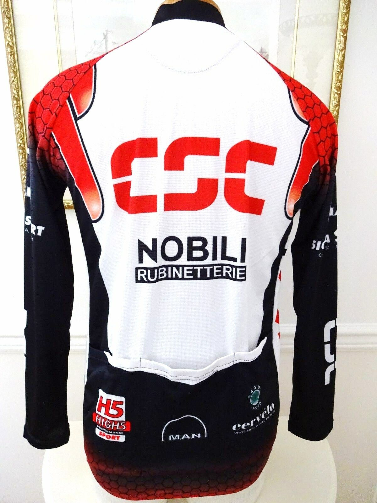 DESCENTE CSC BIB SMALL SHORTS, LONG SLEEVE JERSEY & GLOVES SMALL BIB MADE IN ITALY c2d8b3