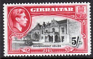 Gibraltar-KGVI-1938-5-5s-Black-Carmine-SG129-Mint-Lightly-Hinged