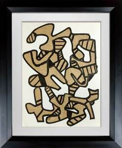 Jean Dubuffet LITHOGRAPH Limited EDITION Velin Paper Vacuum Form -  w/Frame