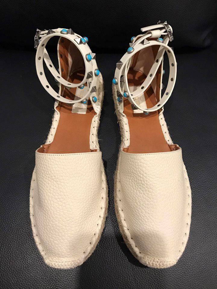 marca NIB Valentino Rockstud Rockstud Rockstud bianca Leather blu Ankle Wrap Espadrille Flats 35  895  la migliore selezione di
