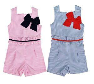 Enfants Filles Dépouillé Playsuit Jumpsuit Frill Bow Outfit Summer Causal Dress-afficher Le Titre D'origine