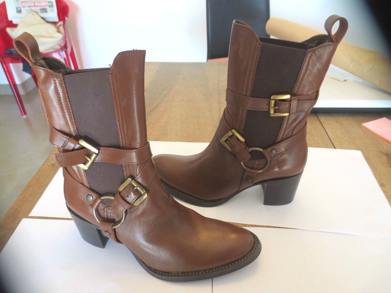Boots M cuir camel M PAR M Boots NEUVE Talon 6,5cm Valeur 149E Pointures 38,40,41 2d5dd3
