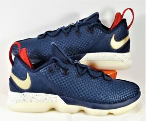 6cb363ea1cd90 Nike Lebron 14 XIV Low USA Midnight Navy   Gold   Red Sz 10.5 NEW ...