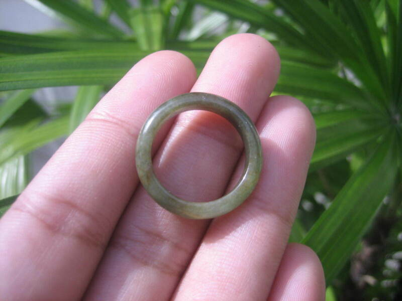Natural Jadeite Jade Ring Thailand Jewelry Stone Mineral Size 6.75 Us E 59139
