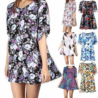 Women 3//4 Turnup Sleeve Button Top Ladies Flared Plus Size Party Wear Mini Dress