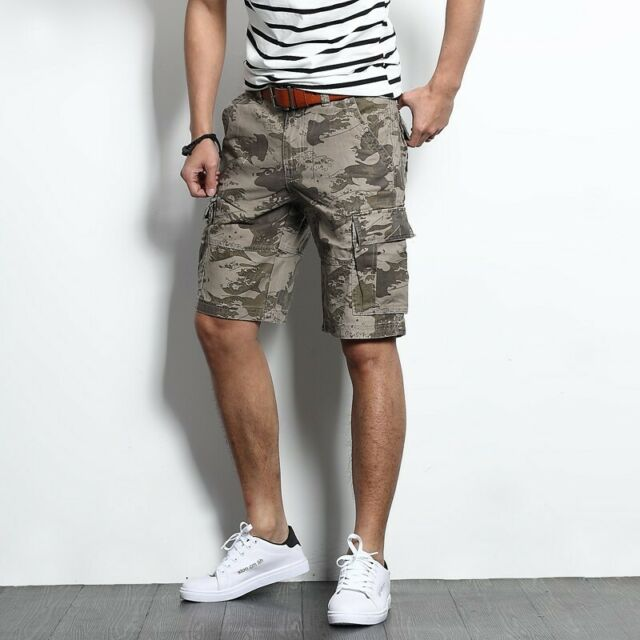Men Shorts Cargo Pant Camouflag Straight Loose Summer Casual Overalls